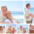 Collage of an elderly couple enjoying moments on a beach — Stock Photo