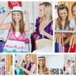 Stock Photo: Collage of two smiling women doing shopping