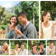 Collage of lovely couples eating ice creams in a park — Stock Photo #10592146