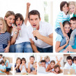 Collage of a family sharing moments together at home — Stock Photo
