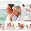 Collage of an elderly couple sharing good moments together on a — Stock Photo