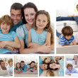 Collage of a family spending goods moments together at home - Stock Photo