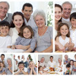 Collage of a whole family enjoying sharing moments together at h - Stock Photo