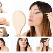 Collage of beautiful women putting make-up on — Stock Photo