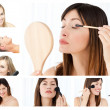 Collage of beautiful women putting make-up on — Foto de Stock   #10592227