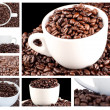 Collage of coffee and beans — ストック写真