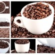 Collage of coffee and beans - Stock Photo