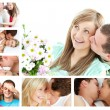 Collage of lovely couples embracing and kissing - Stok fotoğraf