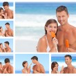 Collage of a lovely couple eating some ice creams on a beach - Stok fotoğraf