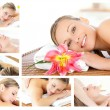 Collage of a young girl being massaged while relaxing - Stock Photo