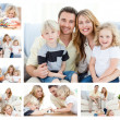 Collage of a family spending goods moments together and posing a — Stock Photo