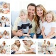 Collage of a family spending goods moments together and posing a - Stock Photo