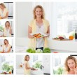Collage of a beautiful woman cooking and eating some vegetables - Foto Stock