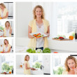 Collage of a beautiful woman cooking and eating some vegetables - Stockfoto