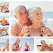 Royalty-Free Stock Photo: Collage of an elderly couple spending time together on a beach