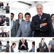 Royalty-Free Stock Photo: Collage of business posing and working at the office