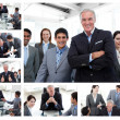 Collage of business posing and working at the office — Stock Photo #10592312