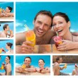 Collage of a lovely couple drinking cocktails in a swimming pool - Zdjęcie stockowe