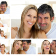Collage of a middle-aged couple enjoying the moment — Stock Photo