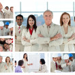 Collage of business posing and enjoying working at the of — Stock Photo #10592339