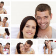 Stock Photo: Collage of a lovely couple enjoying the moment