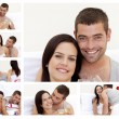 Stock Photo: Collage of lovely couple enjoying moment