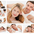 Collage of a lovely couple relaxing — Stock Photo