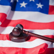 Stock Photo: US flag and brown gavel