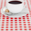 Coffee on a tablecloth — ストック写真