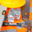 Tools and miniature house — Stock Photo