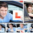 Happy teenage boy showing holding a modern car key and a learner — Stok fotoğraf