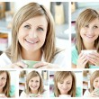 Royalty-Free Stock Photo: Collage of a young woman drinking a cup of coffeein the living r