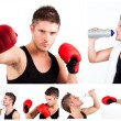 Collage of male boxer while boxing or having a rest — Stock Photo #10599818