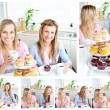 Young beautiful women ready for a snack — Stock Photo