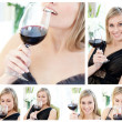 Collage of a beautiful woman holding a glass of red wine in the — ストック写真