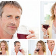 Collage of a man and a woman holding a glass of red wine in the - Stock Photo
