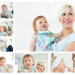 Collage of a blonde woman holding a baby in the living room - Stockfoto