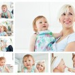 Collage of a blonde woman holding a baby in the living room - Stok fotoğraf