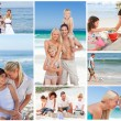 Collage of a family having fun and relaxing — Stock Photo