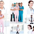 Collage of young doctors — Stock Photo