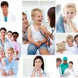 Collage of medical situations - Foto Stock