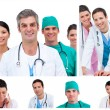 Stock Photo: Collage of young doctors and surgeons