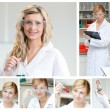 Collage of a female scientist doing experiments — 图库照片