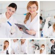 Royalty-Free Stock Photo: Collage of two female scientists doing experiments