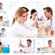 Collage of several scientists doing experiments — Stock Photo #10599935