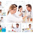 Stock Photo: Collage of several scientists doing experiments