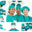 Stock Photo: Collage of surgeons during surgery