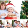 Collage of a family celebrating Christmas - Foto de Stock