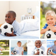 Collage of several boys with footballs - Zdjęcie stockowe