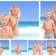 Collage of children eating ice cream on the beach — Stock Photo
